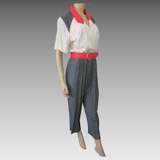 Color Block Jumpsuit Vintage 1980s Virgo White Pink Gray Belt