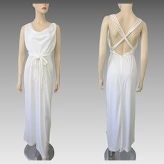 White Summer Maxi Dress Vintage 1970s Grecian Sleeveless Criss Cross