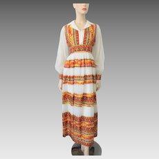 Bohemian Maxi Dress Vintage 1970s Stripes White Gold Metallic