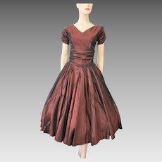Vintage 1950s Blouse Swing Skirt Copper Rayon Full Circle Sun Fun California