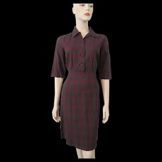 HOLD For Kiernan Vintage 1950s Plaid Day Career Dress