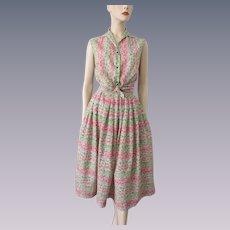 Vintage 1960s Play Set Cotton Sleeveless Blouse Midiskirt Skirt
