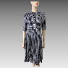 Polka Dot Vintage 1950s Day Dress Jacket Suit Navy White Red Rayon
