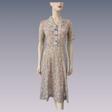 Sheer Floral Checked Dress Vintage 1930s Fit and Flare Brown Pastels