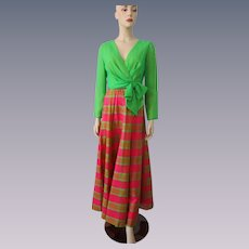 Miss Elliette Formal Maxi Dress Gown Vintage 1970s Green Hot Pink Plaid Bow