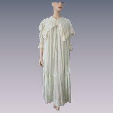 Antique Edwardian Nightgown Dress Cotton Polka Dot Fine Net Lace