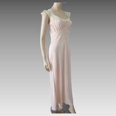 Pink Negligee Nightgown Vintage 1970s Maxi Lace Large