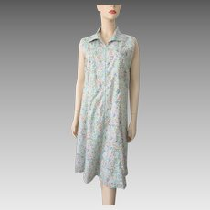 Sleeveless Floral Cotton Dress Vintage 1970s Size Large