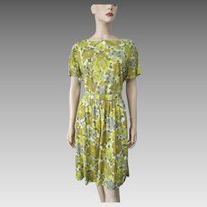 Floral Rayon Day Dress Vintage 1950s Yellow Carol Brent Belt Large
