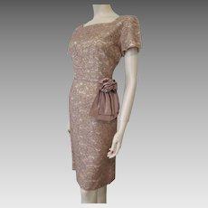 Illusion Lace Wiggle Dress Vintage 1950s Taupe Mauve Peplum Large