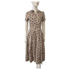 ON HOLD Cotton Fall Day Shirt Dress Vintage 1950s Brown Floral Checked