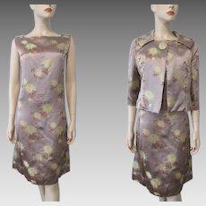 Mod Brocade Suit Dress Jacket Vintage 1960s Taupe Floral Jackie O