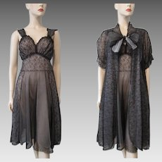 Black Illusion Lace Peignoir Set Vintage 1960s Negligee Nightgown Robe