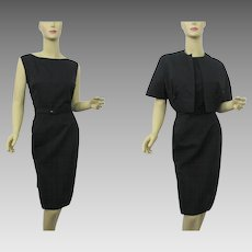 Black Womens Suit Vintage 1950s Wiggle Dress Bolero Jacket Large