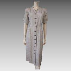 Jack Mann Wiggle Coat Dress Vintage 1950s Brown White Woven Linen