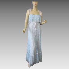 Powder Blue Bohemian Lace Dress Gown Vintage 1970s Prom Bridesmaid Special Occasion