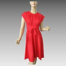Red Polka Dot Summer Dress Vintage 1970s