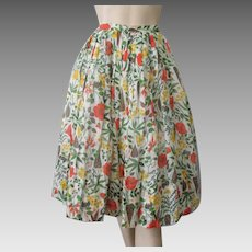 Sheer Floral Skirt Vintage 1950s Fall Colors Knife Pleats