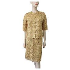 Gold Raffia Illusion Lace Suit Vintage 1960s Mod Jackie O Jacket Wiggle Skirt