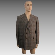 Mens Jacket Blazer Vintage 1970s Wool Plaid Double Breasted