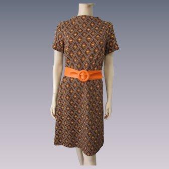 Knit Shift Dress Vintage 1970s Brown Orange Belt