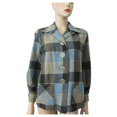 Buffalo Plaid Wool Jacket Vintage 1950s Blue Gray Womens