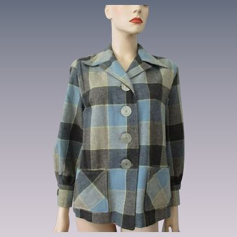 Buffalo Plaid Wool Jacket Vintage 1950s Blue Gray Womens