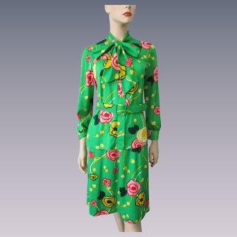 Bold Green Print Suit Vintage 1960s Womens Bleeker Street Blouse Belt Skirt Set