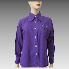 Purple Shirt Blouse Vintage 1970s Dog Ear Collar Button Down