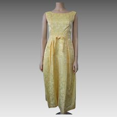 Yellow Brocade Cocktail Dress Vintage 1960s Sleeveless Evening