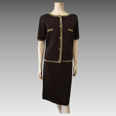 Womens Wool Knit Suit Vintage 1950s Brown Gold Cardigan Sweater Skirt
