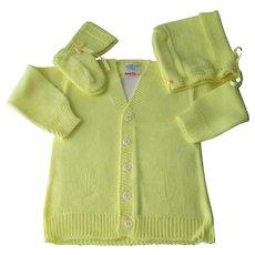 Deadstock Knit Baby Set Vintage 1950s Yellow Cardigan Sweater Bonnet Booties