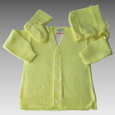 Deadstock Knit Baby Set Vintage 1950s Yellow Cardigan Sweater Bonnet Booties