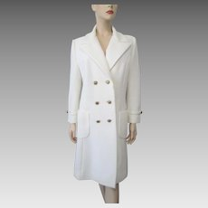 White Womens Jacket Vintage 1970s Ribbed Polyester Double Breasted Large