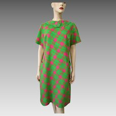 Mod Linen Dress Vintage 1960s Green Pink Jack Mann