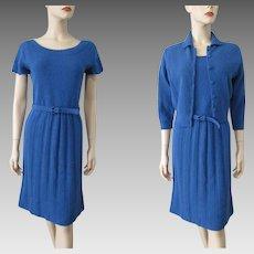 Knit Sweater Dress Cardigan Suit Vintage 1970s Womens Royal Blue Belt Set