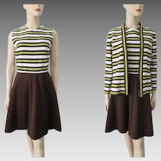 Dress Jacket Suit Vintage 1970s Striped Polyester Brown Yellow Set