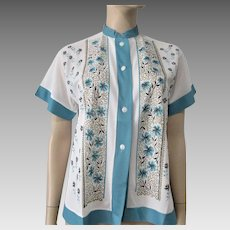 Vintage 1950s Blouse Mid Century Blue White Floral Button Down