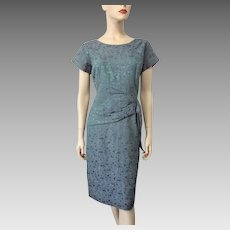 Cocktail Wiggle Dress Vintage 1940s Peplum Lavender Green Floral Large