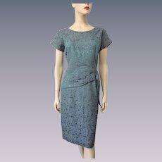 Cocktail Wiggle Dress Vintage 1940s Peplum Lavender Green Floral Large
