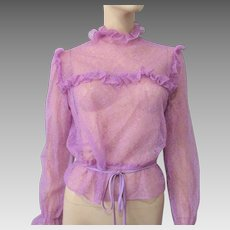 Lavender Lace Blouse Vintage Early 1980s Sheer Victorian Revival Peplum Belt