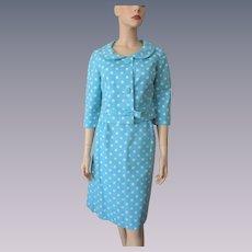 Blue Polka Dot Suit Vintage 1960s Linen Jacket Wiggle Pencil Skirt
