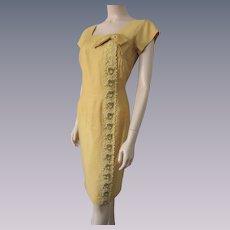 Wiggle Dress Vintage 1950s Mustard Yellow Applique Beaded Rhinestone Bow