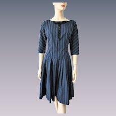 Vintage 1940s Day Dress Blue Black Stripes Knife Pleats Skirt