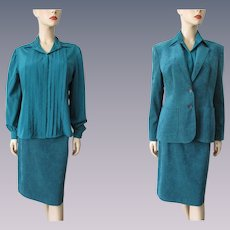 Lilli Ann Ultrasuede Suit Vintage 1980s Adolph Shumann Turquoise Blouse Skirt Jacket