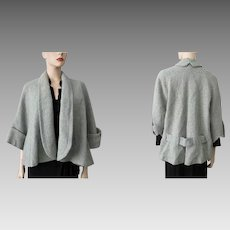 Short Swing Coat Jacket Vintage 1950s Womens Sage Green Wool Boucle