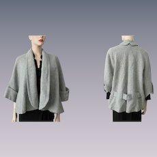 Short Swing Coat Jacket Vintage 1950s Womens Sage Green Wool Boucle
