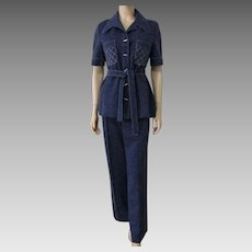 Blue Pants Suit Vintage 1970s Jacket Belt Pants Act III Womens