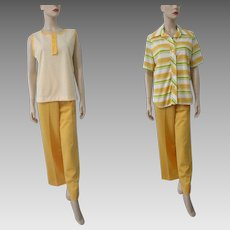 Yellow Three Piece Suit Vintage 1970s Sleeveless Top Jacket Pants Stripes