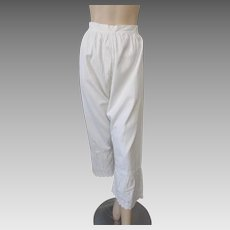 Antique Womens Pantaloons Edwardian Victorian White Cotton Split Crotch Bloomers